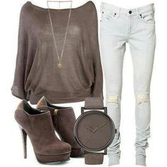 I would like this better with a scarf instead of a necklace and flats or vans instead of the heals