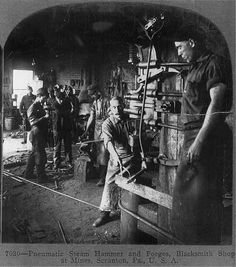 Pneumatic steam hammer and forges, blacksmith shop at mines, Scranton, Pa.