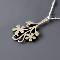 Brushed+Silver+Flower+Necklace++Floral+Branch++by+lisahopkins,+$79.00