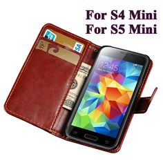 For Samsung Galaxy S4 Mini / S5 Mini Wallet Flip Case Broncos PU Leather Cover With Card Holders Phone Bag Coque Black i9190