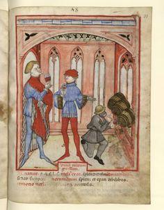 Nouvelle acquisition latine 1673, fol. 77, Aliment: vin rouge. Tacuinum sanitatis, Milano or Pavie (Italy), 1390-1400.