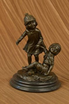 Bronzioni XN2176 Bronze Group Of Two Children Statue Signed Art Deco Sculpture Figure Figurine