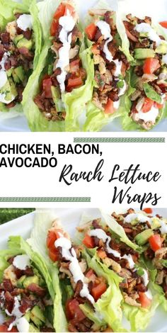 Chicken, Bacon, Avocado Ranch Lettuce Wraps | It's like a BLTA in lettuce wrap form, topped with ranch dressing. So delicious! #chickenrecipe #deliciouswrap #healthyfood