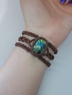 Labradorite Macrame bracelet Celtic style bracelet Macrame