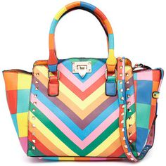 I Love Billy 9831 Rainbow Stripe Tote White Tote Bag, White Handbag, Gold Purses, White Purses, Tote Purse, Tote Handbags, Tote Bags, Chevron Purse, Rainbow Bag
