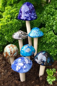 Seven hand crafted ceramic mushrooms, 1 large, 2 medium, 4 small by FabulousFungi on Etsy