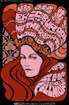 Eric Burdon and The Animals, with Mother Earth, and Hour Glass at the Fillmore - concert poster.