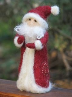 Items similar to Needle felted Santa Claus Waldorf inspired Christmas home decoration on Etsy Felt Christmas Decorations, Felt Christmas Ornaments, Handmade Ornaments, Christmas Crafts, Needle Felted Animals, Needle Felting, Felt Crafts, Diy And Crafts, Felt Snowman