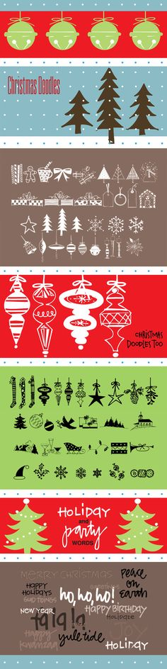 Outside the Line Holiday Doodle font package - Christmas Doodles, Christmas Doodles Too, and Holiday and Party Words. An $87 value, only $49 for the set!