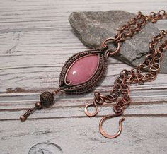 Pretty in Pink ~ Rhodonite Copper Wire Wrapped Pendant ~ Wire Wrap Necklace, Fearless Creations, Romantic Jewelry, Downton Abbey, Boho