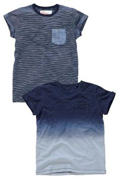 Buy Two Pack Blue Dip Dye And Blue Stripe T-Shirts (3-16yrs) online today at Next: Israel