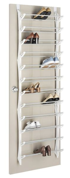 Shoe Storage Option - 36 pair over-the-door shoe rack - this rack would be ideal over the inside of a closet door so it's hidden from view.