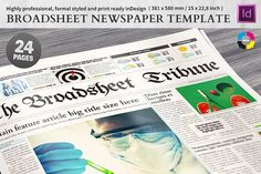 Broadsheet Newspaper Template by Mikko Lemola on @creativemarket