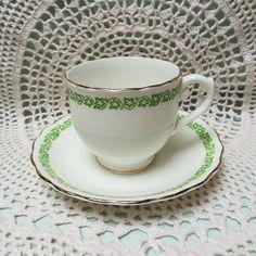 English Castle, Staffordshire England, Vintage Bone China, Ivy Bordered Tea Cup and Saucer. Vine Border, English Castles, Bone China Tea Cups, Jade Green, Bright Green, Tea Set, Cup And Saucer, Ivy, Bones
