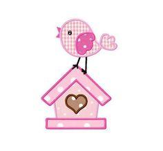 Bird house applique machine embroidery design