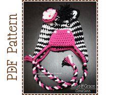 Zebra Hat Crochet Pattern 8 Sizes from by EmieGraceCreations