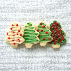 Christmas tree cookies with simple decoration.