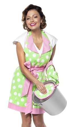 Old Fashioned Aprons & Patterns Womens Audrey Lime Polka-dots Apron $29.95 AT vintagedancer.com