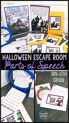 Cracking the Classroom Code™ Halloween Parts of Speech Escape Room Game Fourth Grade Writing, 7th Grade Ela, 5th Grade Reading, Sixth Grade, Third Grade, Teaching Activities, Teaching Reading, Classroom Activities, Teaching Posters