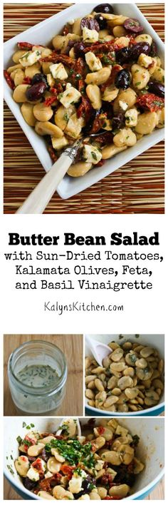 This Butter Bean Salad with Sun-Dried Tomatoes, Kalamata Olives, Feta, and Basil Vinaigrette is perfect for summer or early fall parties when fresh basil is abundant, but I've also made this basil vinaigrette with frozen basil. The post also has ten more salad ideas with basil or basil vinaigrette.  [from KalynsKitchen.com]