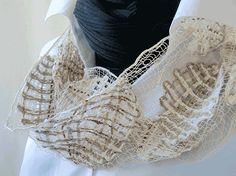 scarf loop handmade bobbin lace out of wool fawn by UliBaysie