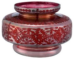 One Kings Lane - Festive Flourishes - Glass Etched Disc Vase, Silk Red