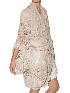Mes Demoiselles Crochet Cardigan in Pink (beige) - Lyst Crochet Cape, Crochet Cardigan, Diy Crochet, Knit Fashion, Boho Fashion, Boho Inspiration, Kimono Cardigan, Pink Beige, Beautiful Crochet