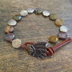 Rustic Indian & Gemstone Knotted Leather Wrap by TwoSilverSisters, $38.00