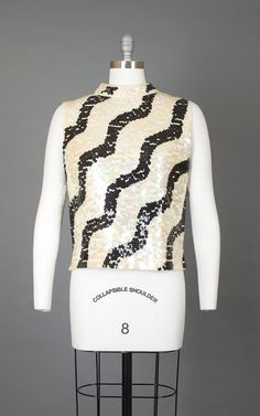 Vintage 60s Sequin Knit Wool Sweater Top | 1960s Sparkly Mod Striped Cream Black Tank Top (small) | Birthday Life Vintage on Etsy
