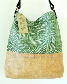Large Screen print, Leather, Organic, Eco friendly, Hessian Shoulder Bag
