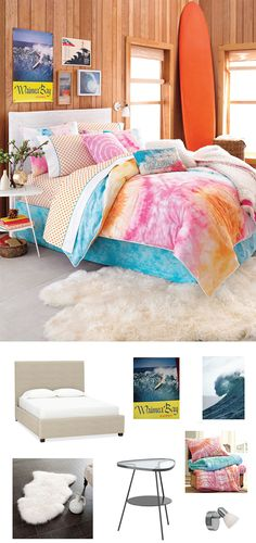 Bright colors, tie dye and a giant surfboard work together to give this room a beachy feel.