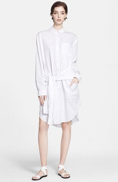 T by Alexander Wang Oversize Cotton Poplin Shirtdress Taking its cue from of-the-moment street trends, this long and generously cut cotton shirtdress goes off-duty with extra sleeves tied low and loose around the front. Front button closure. Button cuffs. Chest patch pocket.available at #Nordstrom