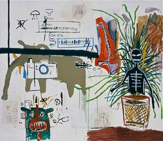 From The Broad Collection: Jean‐Michel Basquiat, Wicker, acrylic, oilstick and xerox collage on canvas, The Broad Art Foundation. Jean Basquiat, Jean Michel Basquiat Art, Sandro Chia, Basquiat Paintings, Warhol Paintings, Radiant Child, Guggenheim Bilbao, Art Brut, Outsider Art