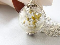 Real Flower Botancial Necklace Hand Blown Glass by WishesontheWind, $34.00