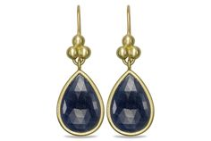 One Of A Kind Sapphire Drop Earrings - in 18kt Yellow Gold by SLANE, at Ritani