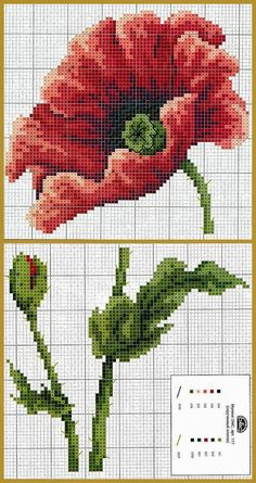 "Lovely little things: Embroidery cross: ""Poppies. Cross Stitch Charts, Cross Stitch Designs, Cross Stitch Patterns, Needlepoint Patterns, Embroidery Patterns, Ribbon Embroidery, Cross Stitch Embroidery, Tapestry Crochet, Cross Stitch Flowers"