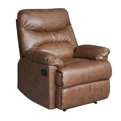 This tan bonded-leather recliner from Tucker offers plush comfort and a wide range of adjustability options. The recliner's tan leather is subtle enough to work with the decor of any room and durable enough to last for many years to come.