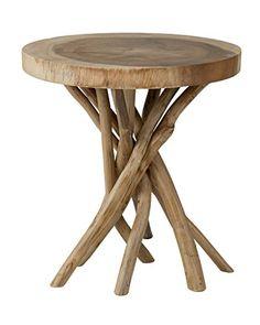 East at Main Merrill Brown Round Teakwood Accent Table, - Works great, seems to be a quality design.This East At Main that is ranked 2150442 in the A Diy End Tables, Side Tables, Round Accent Table, Accent Tables, Diy Home, Home Decor, Wood Tree, Table Dimensions, Wood Rounds