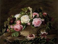Johan Laurentz Jensen (1800-1856): A Basket Of Pink And White And Red Roses With Honeysuckle