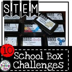 STEM School Box Challenges is a packet of 10 STEM Challenges that will fit into a school box.  This packet contains: Challenge Label, Inside the Box Students Directions, Teachers Page with the directions and materials, and Student STEM Journal.  These activities can also be used for STEAM Activities, Maker Spaces, Tinkering Labs, or After School Clubs.