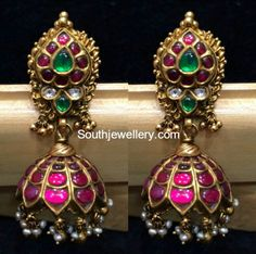 Emarald,ruby and basara pearl antique jhumkas