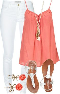 Coral Top with White Jeans for Summer                                                                                                                                                                                 More