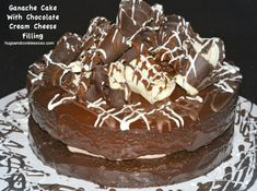 Chocolate Cake with Chocolate Curls and Cream Cheese Icing