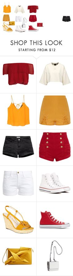 """""""Color match!!!"""" by erin-datcher on Polyvore featuring Keepsake the Label, MANGO, H&M, Pierre Balmain, Frame, Converse, Anne Klein, N°21, Kendall + Kylie and Gucci"""