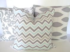 CHEVRON THROW PILLOW Covers Grey 20x20 Light by SayItWithPillows