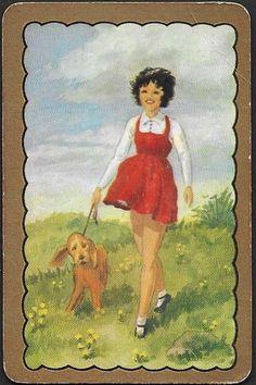 Vintage Coles Swap Card She Is Walking Her Dog - Free Postage Vintage Cards, Playing Cards, Walking, Dogs, Free, Painting, Painting Art, Woking, Paintings