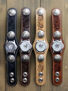Studded Leather Armor, Leather Cuffs, Leather Jewelry, Leather Working Tools, Handmade Knives, Native American Jewelry, Gold Watch, Watch Bands, Watches For Men