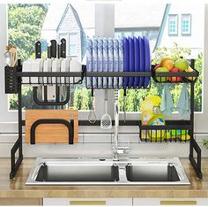 Dish Drying Rack Over Sink, Drainer Shelf for Kitchen Supplies Storage Counter Organizer Utensils Holder Stainless Steel Display- Kitchen Space Save Must Have (Sink size ≤ 32 inch, black) 1