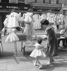 London, Portobello Road Market, 1950s. I used to love wearing these 'sticky out' dresses, as l used to call them!