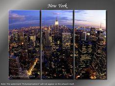 Framed Huge 3 Panel City Skyline Manhattan New York Giclee Canvas Print